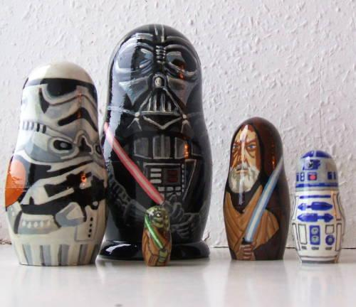 Star Wars themed russian egg dolls, the largest is Darth Vader the Smallest is Yoda