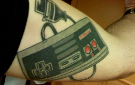 cool tattoos. cool NES Controller Tattoo