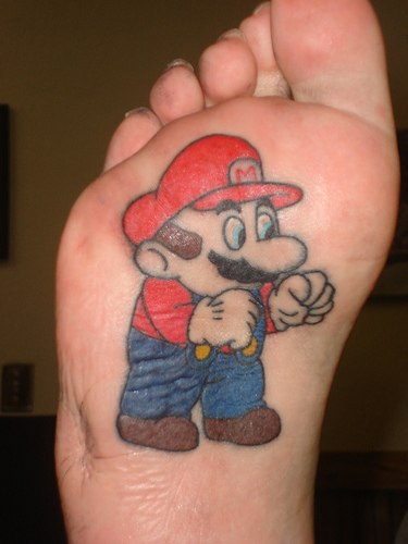 cool super mario foot tattoo. The Super Mario Brothers, Mario and Luigi,