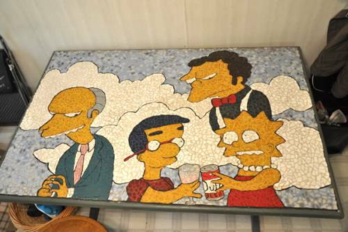 the simpsons table design mosiac art