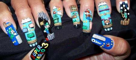 fun super mario bros fingernails art