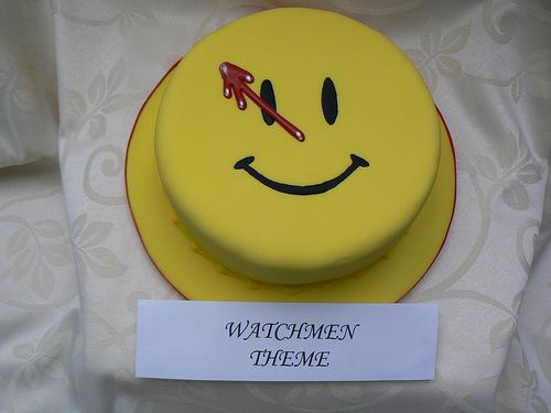 watchmen comedian button cake
