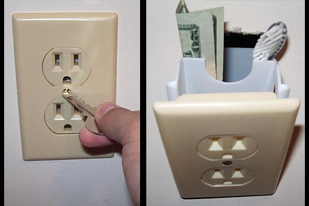 secret wall electric socket compartment 16 Anti Theft Gadgets and Designs to Deter Thieves