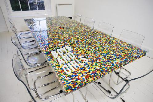 Lego conference table, via walyou