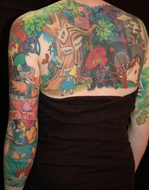 alice in wonderland tattoo back