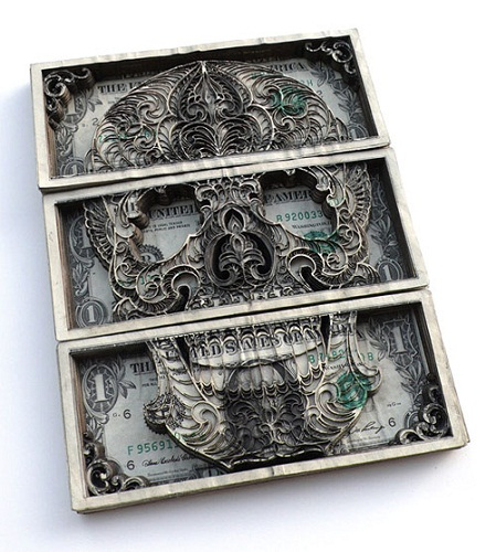 dollar bill art. Laser Cut Dollar Bill Art
