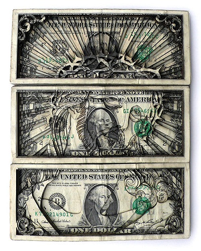 american 1 dollar bill spider. of one dollar bills.