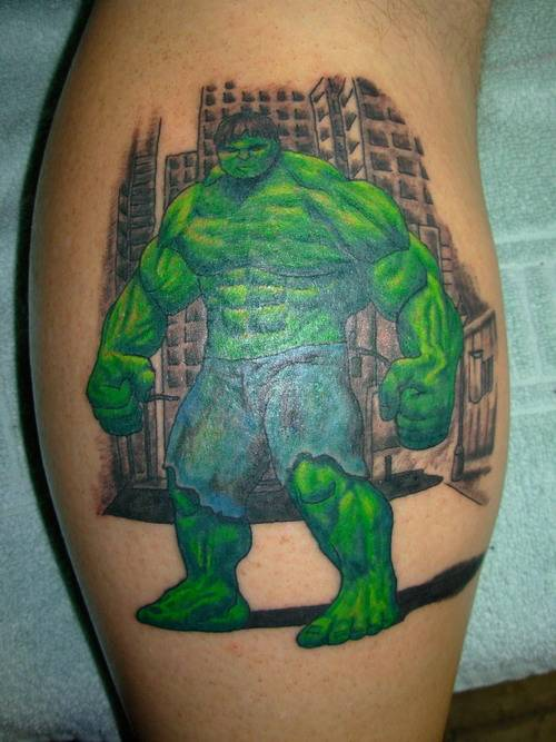 This Hulk Tattoo is all green, and when you see someone with this tattoo you