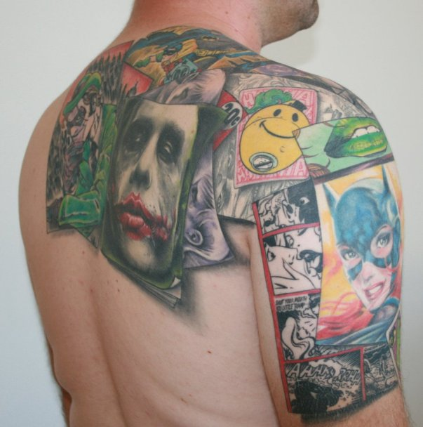 own bodies in the name of tattoo art. This beautiful Batman Collage Art