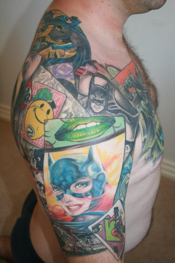 batman collage tattoo 2