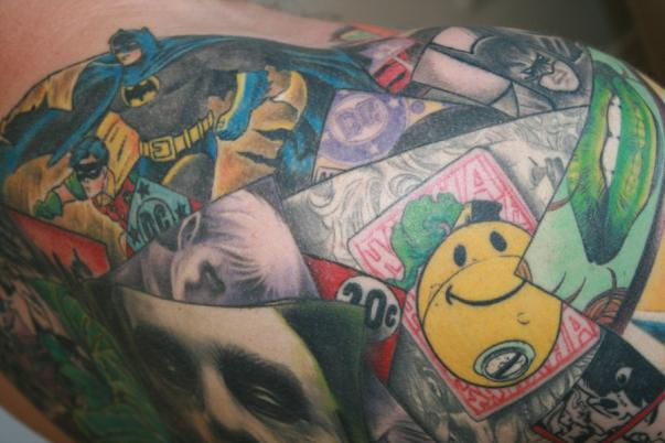 batman collage tattoo 3