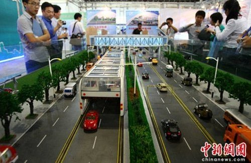 chinese bus concept cars under straddling bus image