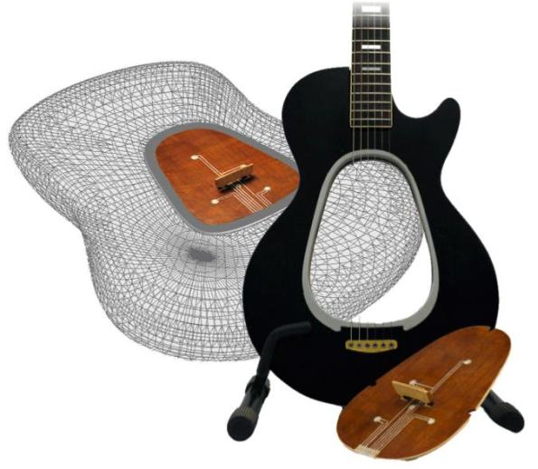 guitar wooden heart mod design
