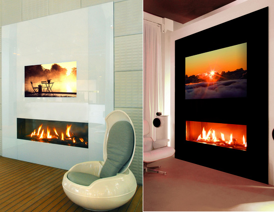fireplace designs with tv. I-Frame Fireplace with Hidden