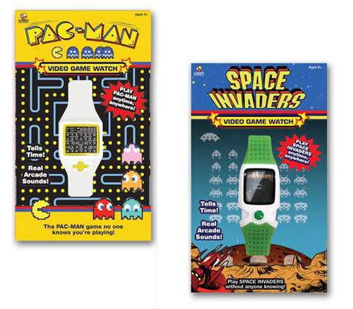 pacman-space-invaders-video-game-watches