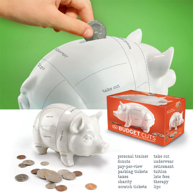 budget cuts piggy bank design