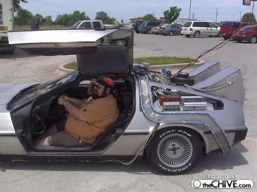 funny geek in a car