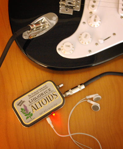 mini guitar amp in altoids mints box