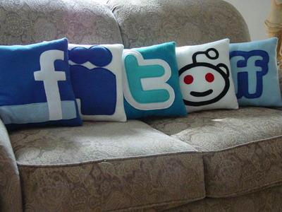 social media icons pillow design