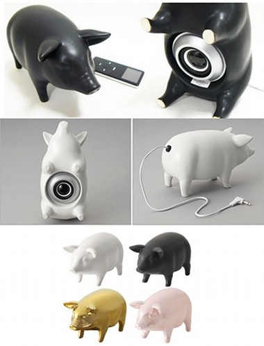 cute pig shaped speakers