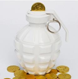 cool grenade ceramic piggy bank