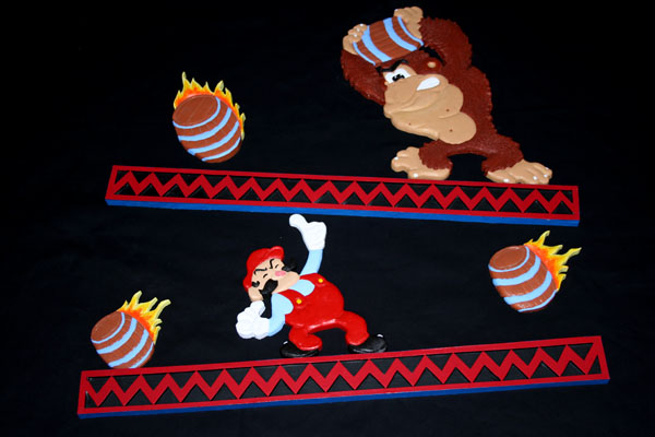 cool donkey kong table carvings