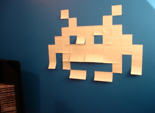 space invaders post it notes design