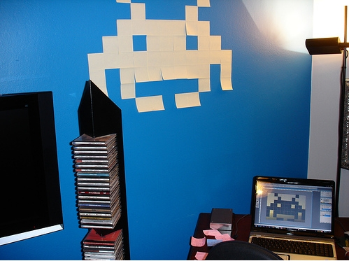 cool post it notes space invaders game