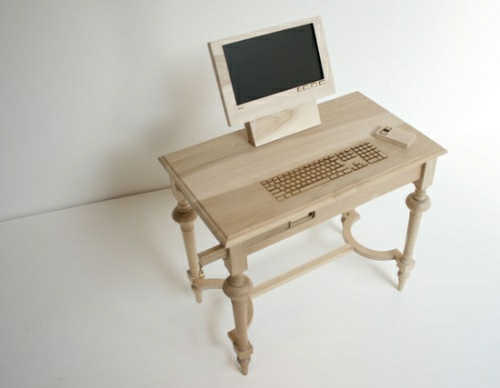 cool computer table from wood