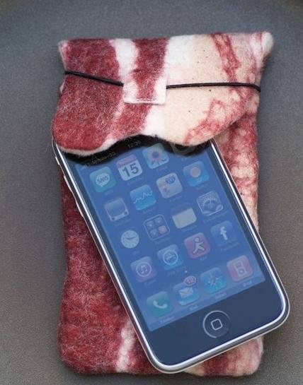 bacon designed iphone sleeve