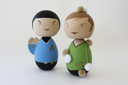 captain kirk and spock kokeshi doll