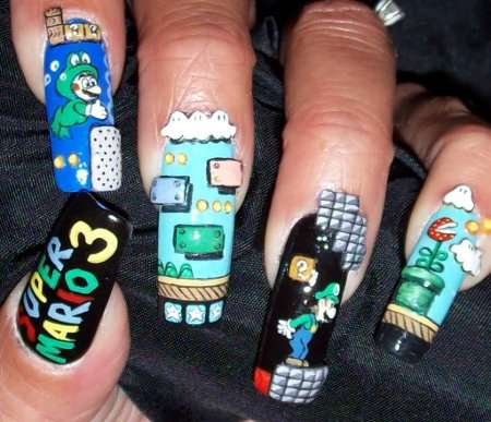 cool super mario brothers fingernails art