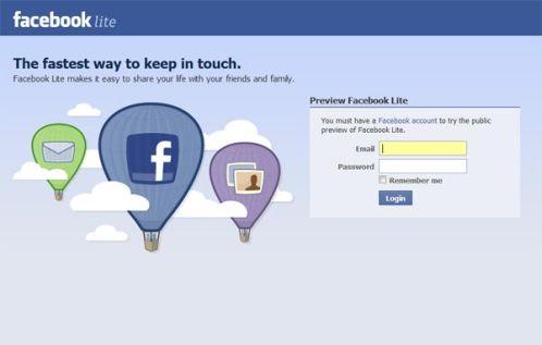 facebook lite home page