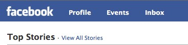 facebook lite top header