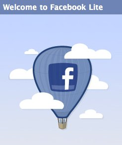 facebook lite welcome page