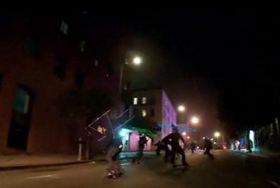 human tetris game skateboarders