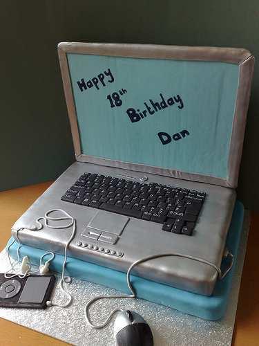 geeky laptop cake