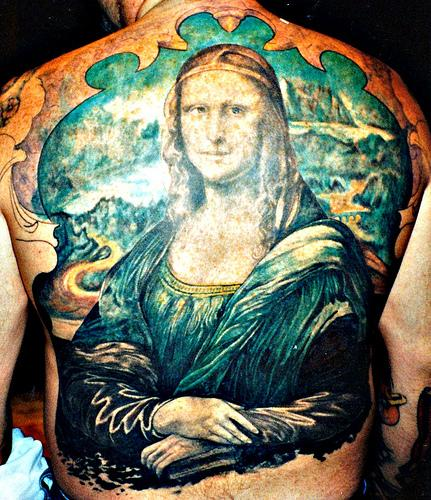 mona lisa tattoo back tattoo