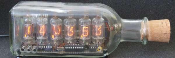nixie tube clock in a bottle