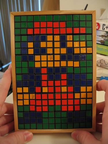 super mario bros  rubik's cube art