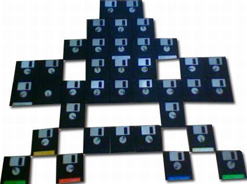 space invaders floppy disk design
