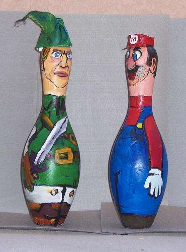 super mario and link bowling pins art walyou