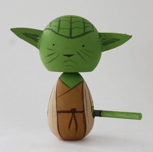 yoda kokeshi doll
