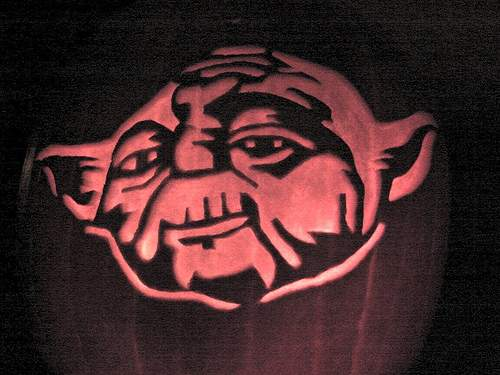cool yoda pumpkin face