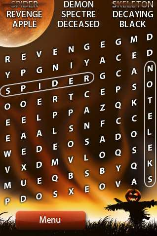 halloween word search iphone app