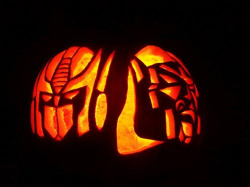 optimus prime megatron pumpkin faces