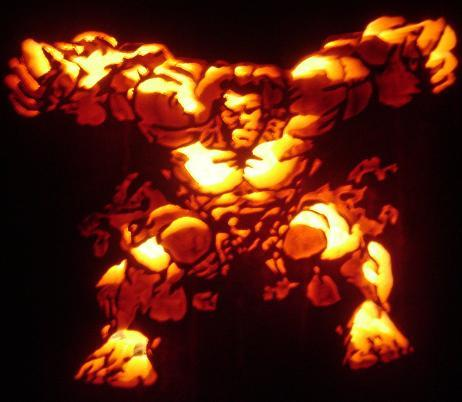 the hulk pumpkin face