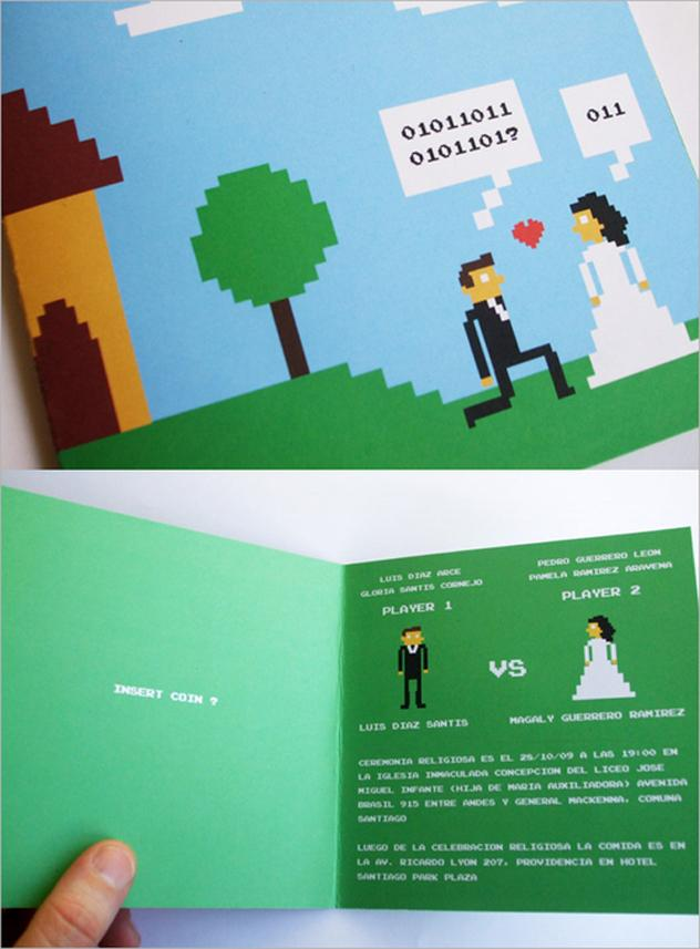 8 bit wedding invitation
