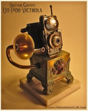 Steampunk Eye Pod Victrola iPod