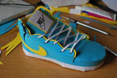 blue nike shoe papercraft